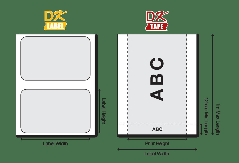 DK etiketter ii forskjellige størrelser