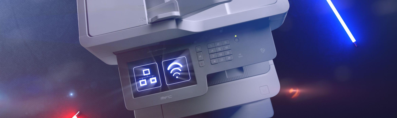 Brother MFC-L9570CDW business farge laserskriver med nettverk og WiFi ikon på berøringsskjermen