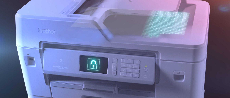 Brother MFC-J6947DW profesjonell A3 og A4 blekkskriver med sikkerhetslås ikon på berøringskjermen