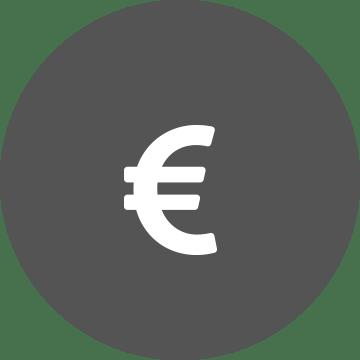 ikon  med euro tegn for kostnadseffektivitet
