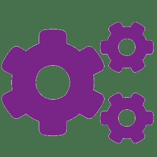 Tannhjulikon i lilla for produktivitet