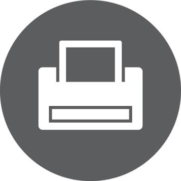 Ikon for Utskrift, med skriver
