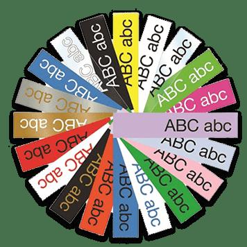 Brother P-touch TZe-merketape i forskjellige farger dandert som et hjul