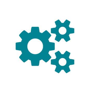 Ikon for pålitelighet som viser tre tannhjul