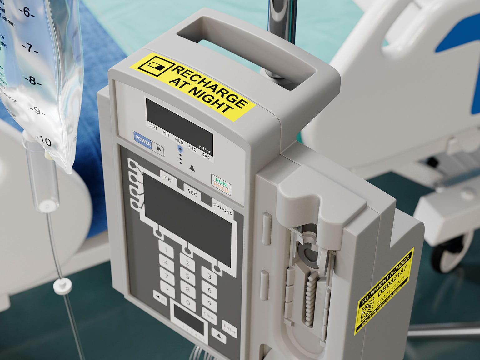 Medisinsk utstyr merket med instruksjoner for betjening