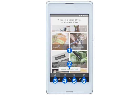 Android smarttelefon viser hovedfunksjoner for P-touch Design & Print appoversikt
