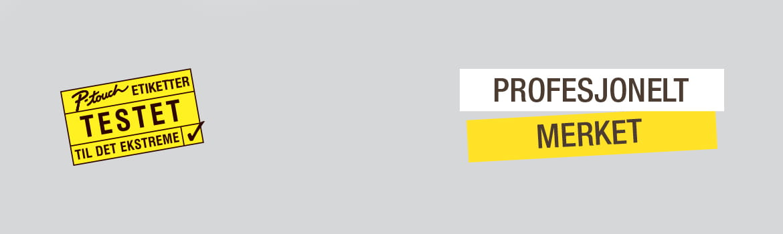 Logoer for merketape med teksten Testet til det ekstreme og profesjonelt merket