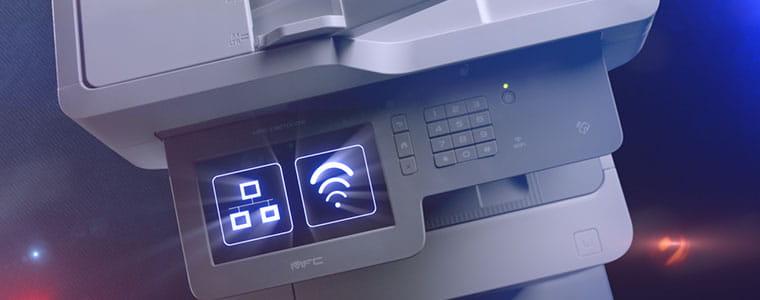 Brother MFC-L9570CDW profesjonell multifunksjon laserskriver med nettverk og WiFi ikon på berøringsskjermen