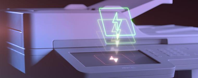 Brother MFCL9570CDW profesjonell multifunksjon farge laserskriver med blitzikon på toppen av berøringsskjermen