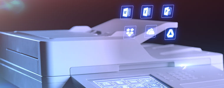 Brother MFCL9570CDW multifunksjon laserskriver med Windows-ikoner på toppe av den automatisk dokumentmateren