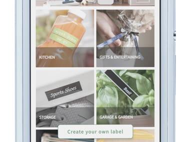 Brother P-touch Design & Print app zoomet inn på smarttelefonen, og viser ulike kategorier