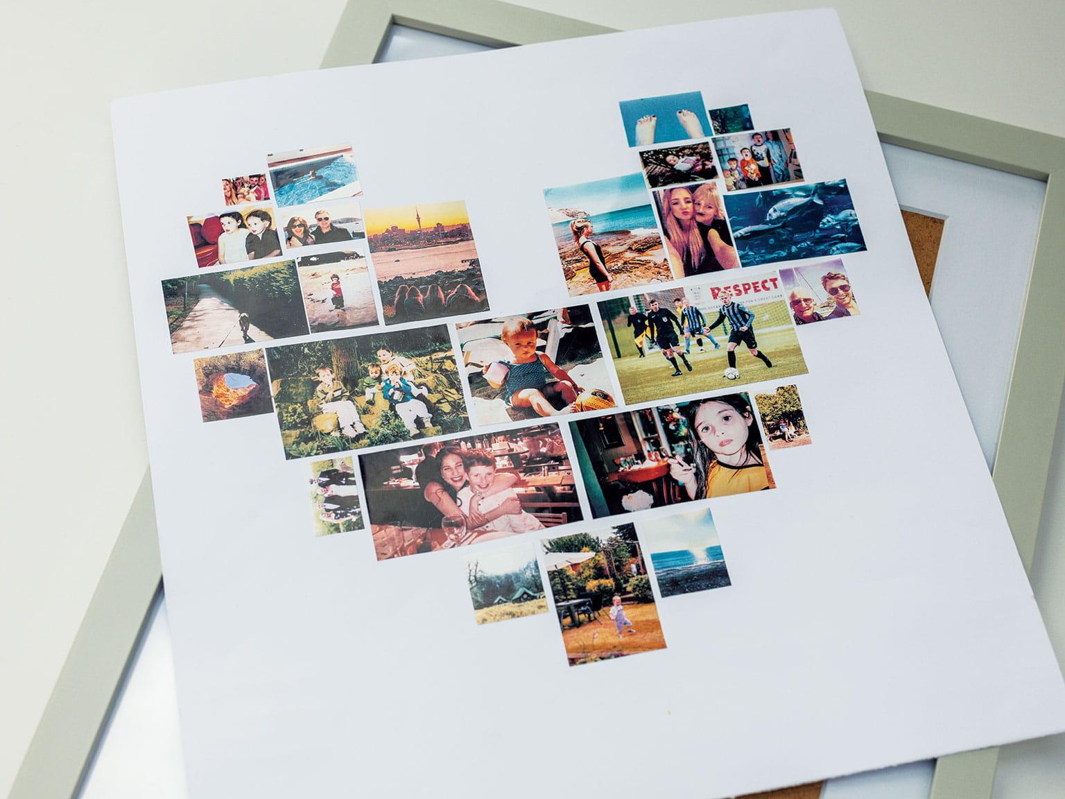 Utskrift av fargerike etiketter formet som et hjerte med en fotoramme under utskriften