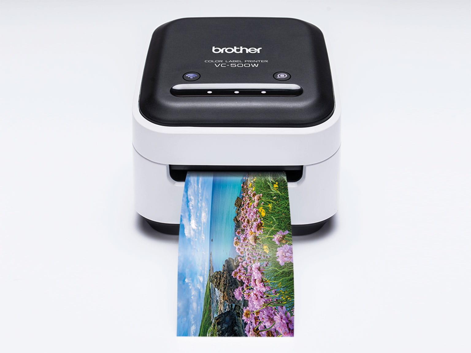 Panorama fotoutskrift fra Brother VC500W fargeetikettskriver