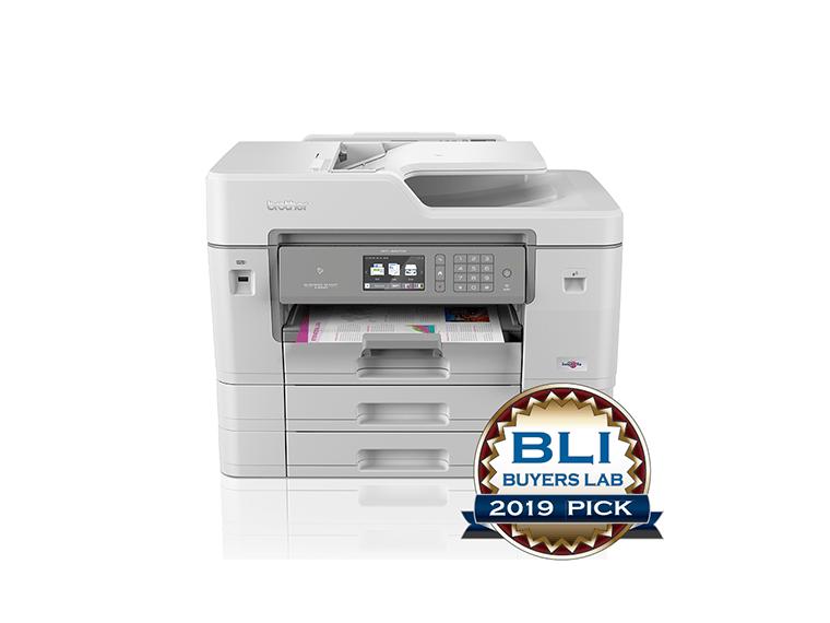 Produktbilde av Brother MFCJ6947DW multifunksjon blekkskriver med BLI Buyers Lab 2019 Pick Award logo front