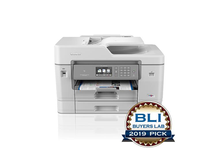 Produktbilde av Brother MFCJ6945DW multifunksjon blekkskriver med BLI Buyers Lab 2019 Pick Award logo front