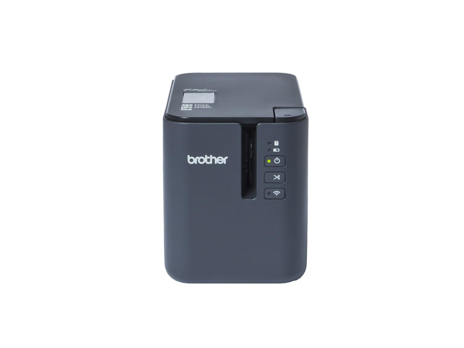 Brother PT-P900 serien etikettskrivere med USB og Wi-Fi og kablet nettverk.