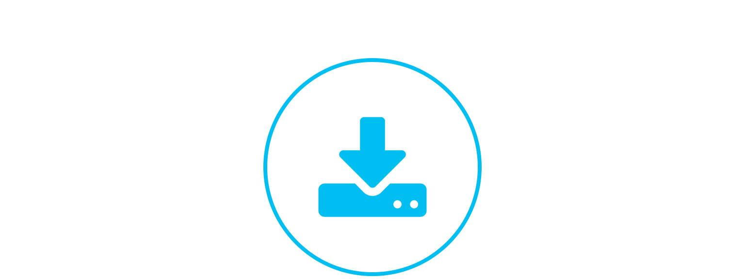ikon for support og nedlastingsside