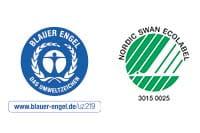 Logo av Blå Engel og Nordiske Svanen