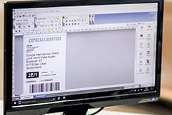 Dataskjerm viser P-touch Editor programvare