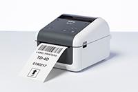 Brother TD4420DN nettverksklar etikettskriver med utskrift av en etikett med strekkoder