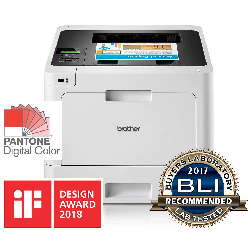 Brother HLL8260CDW farge laserskriver front med awards logo