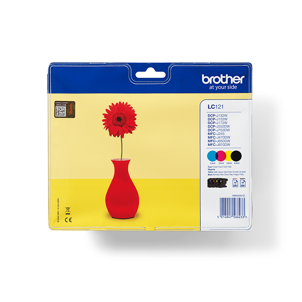 Brother original LC121VALBPDR multipakk blekkpatroner - sort, cyan, magenta og gul
