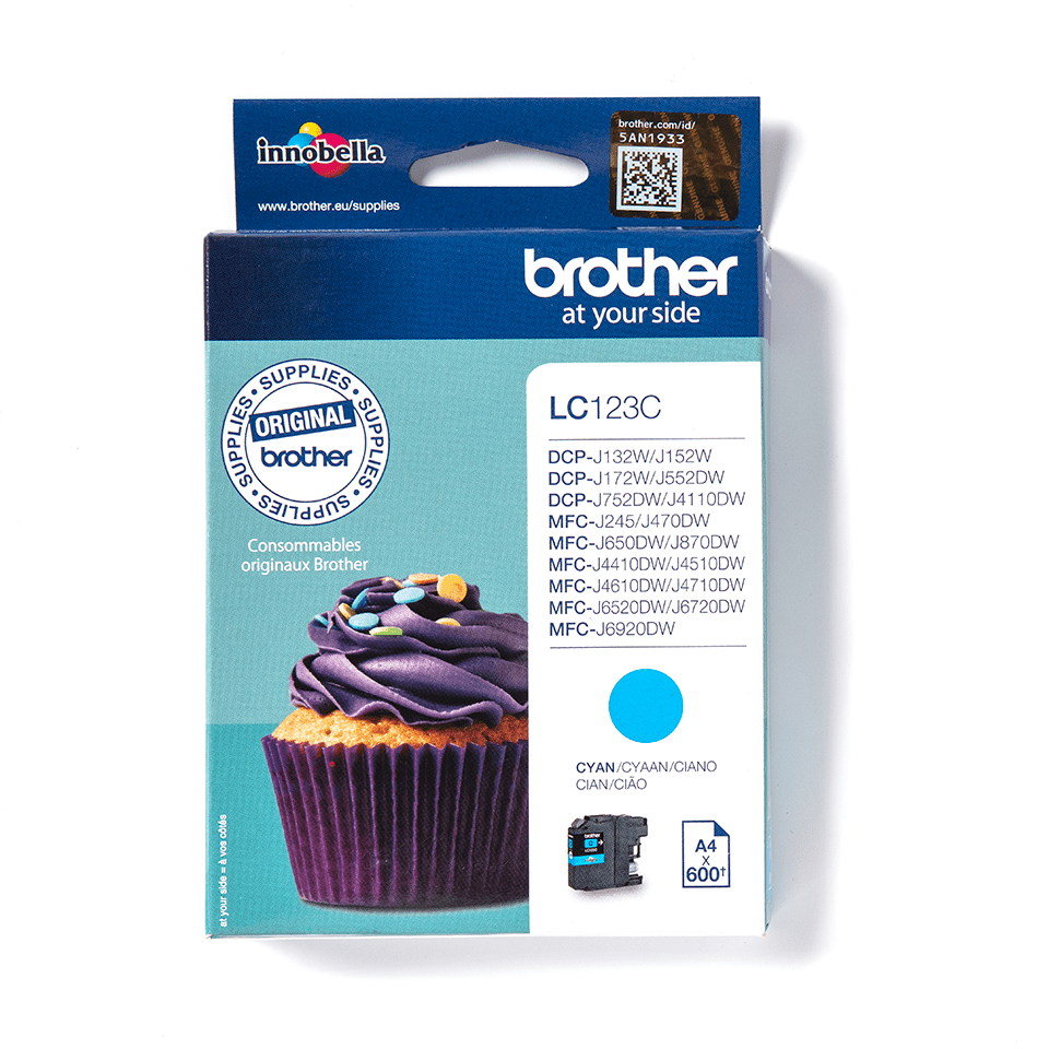 Brother original LC123C cyan blekkpatron