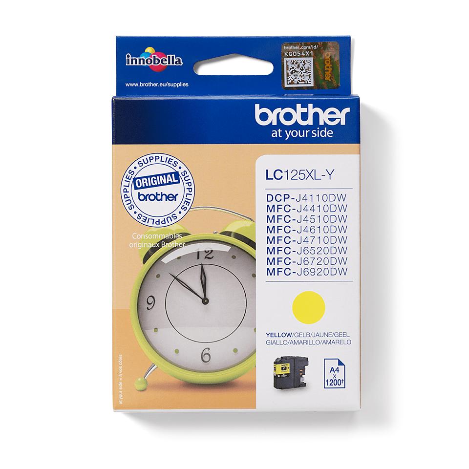 Original Brother LC125XLY XL høykapasitet blekkpatron - gul 2
