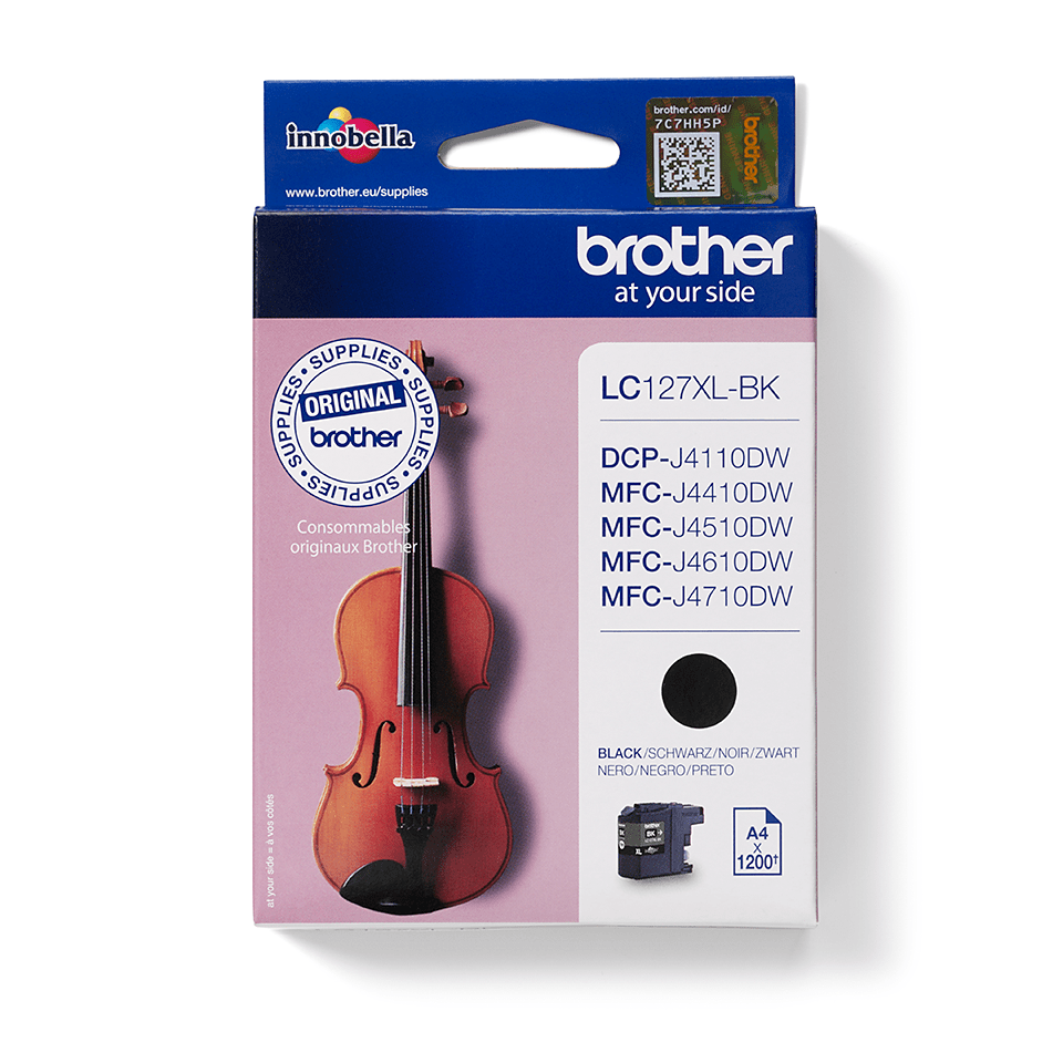 Original Brother LC127XLBK XL høykapasitet blekkpatron – sort