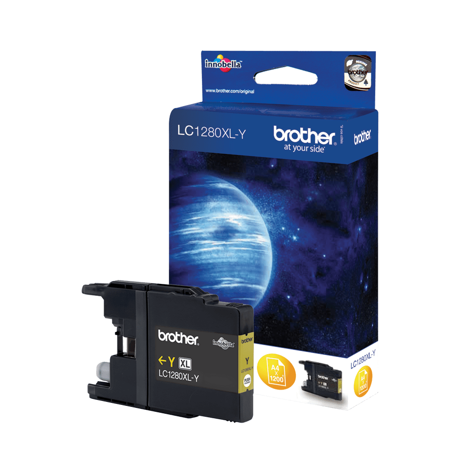 Original Brother LC1280XLY XL-høykapasitet blekkpatron – gul