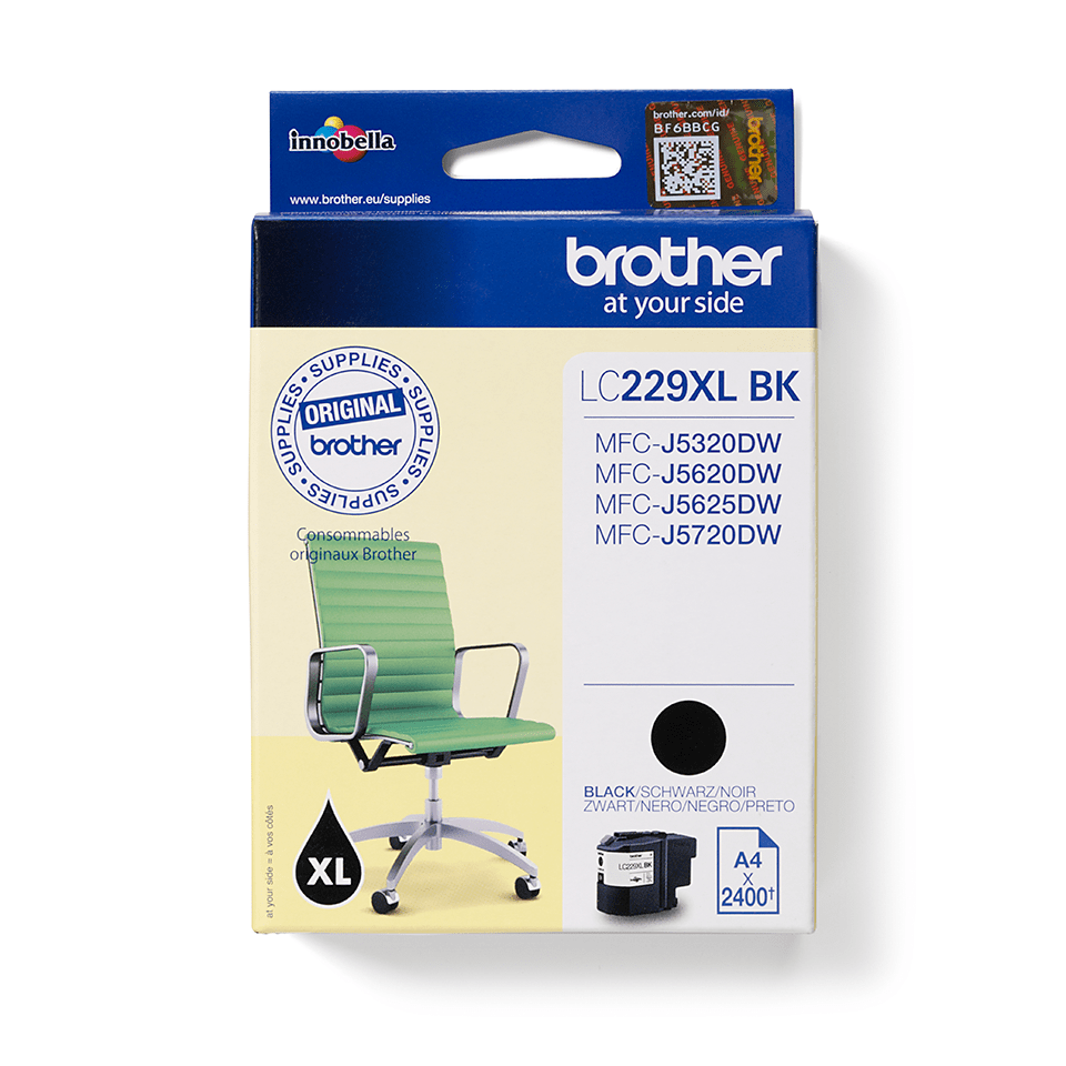 Brother original  LC229XLBK XL høykapasitet blekkpatron - sort