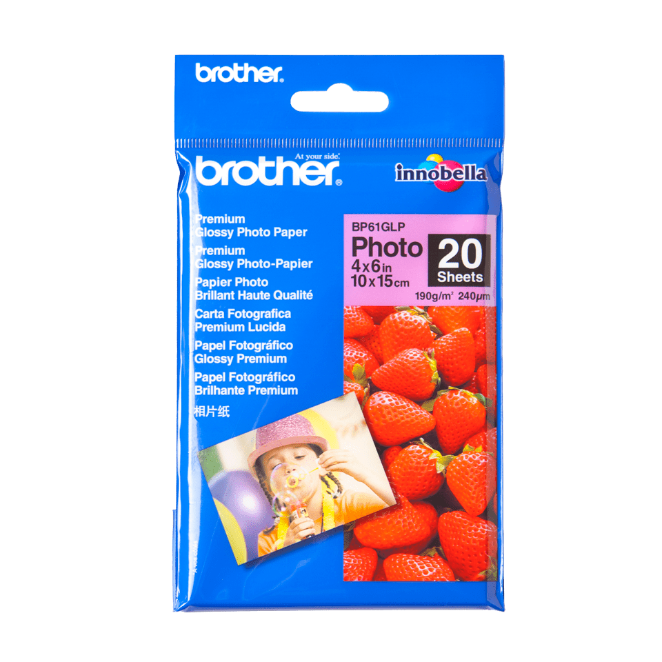 Originalt Brother BP61GLP glanset fotopapir 10 cm x 15 cm