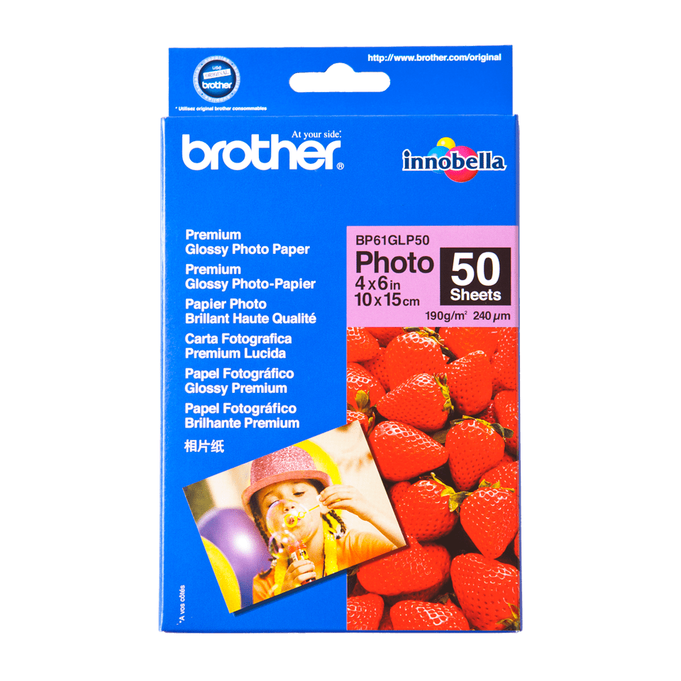 Originalt Brother BP61GLP50 glanset fotopapir 10 cm x 15 cm