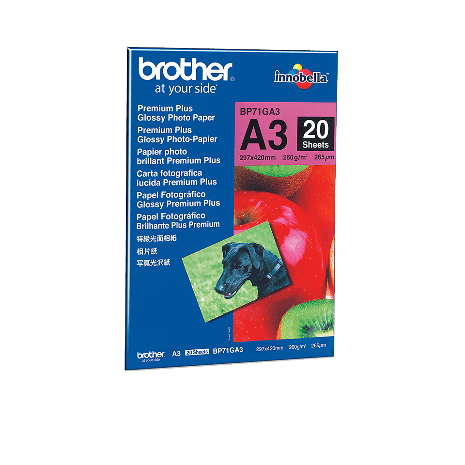 Originalt Brother BP71GA3 glanset fotopapir A3