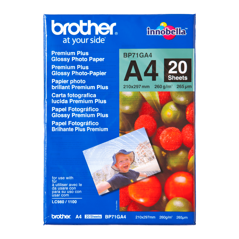 Originalt Brother BP71GA4 glanset fotopapir A4
