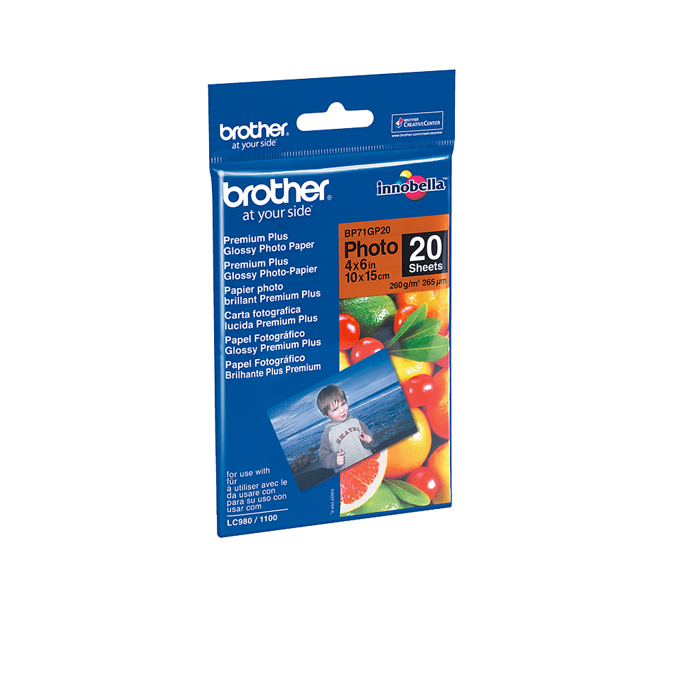 Originalt Brother BP71GP20 glanset fotopapir 10 cm x 15 cm