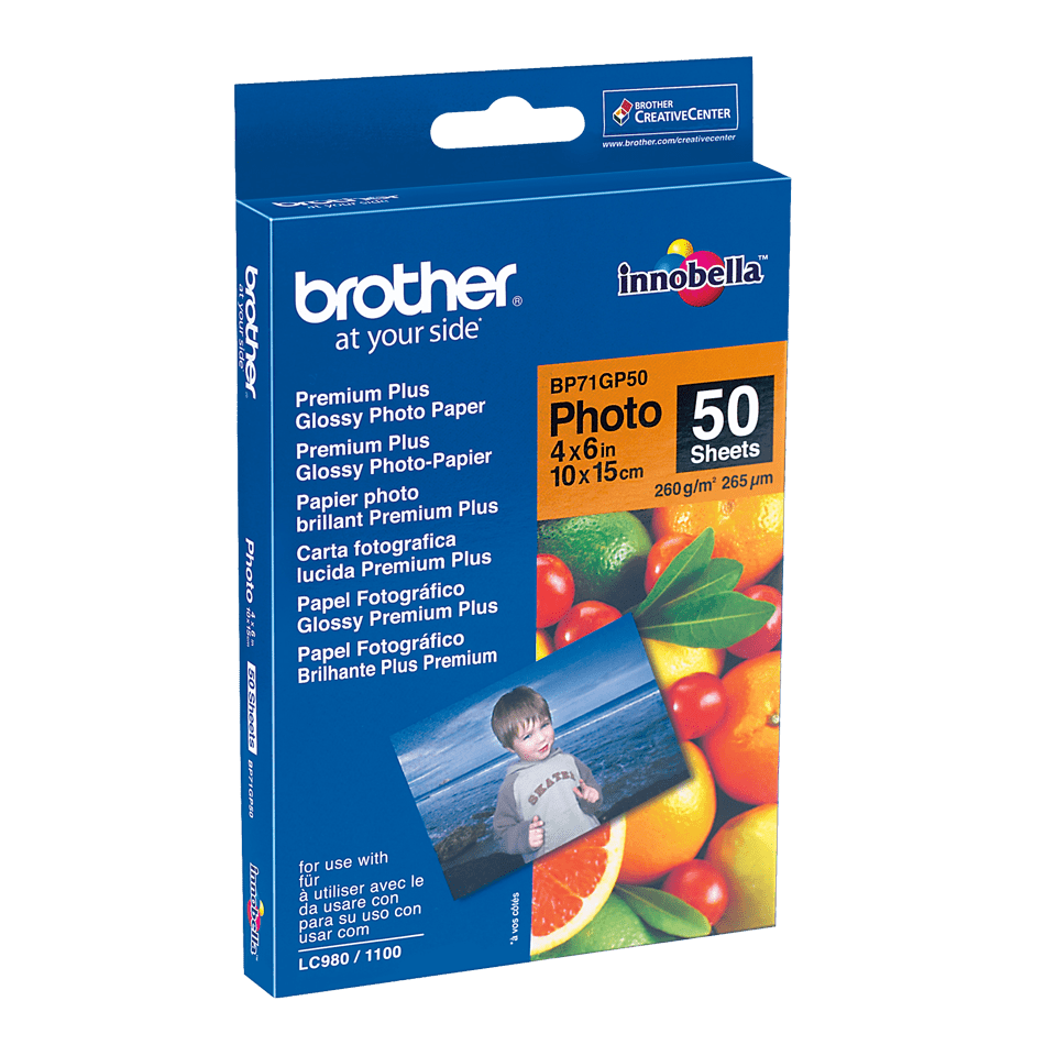 Originalt Brother BP71GP50 glanset fotopapir 10 cm x 15 cm