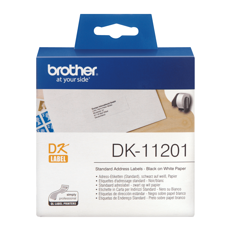 Brother original DK11201 standard adresseetikett i fast format - sort på hvit, 29 mm x 90 mm