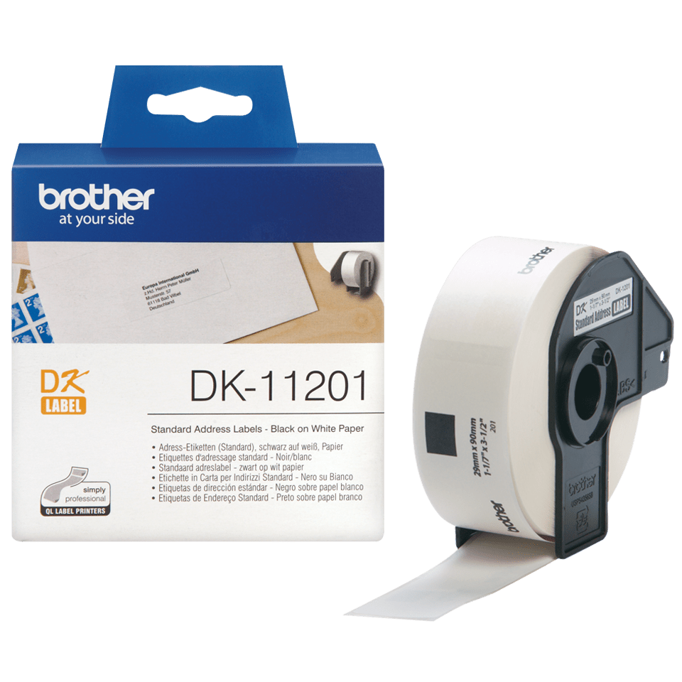 Brother original DK11201 standard adresseetikett i fast format - sort på hvit, 29 mm x 90 mm 3
