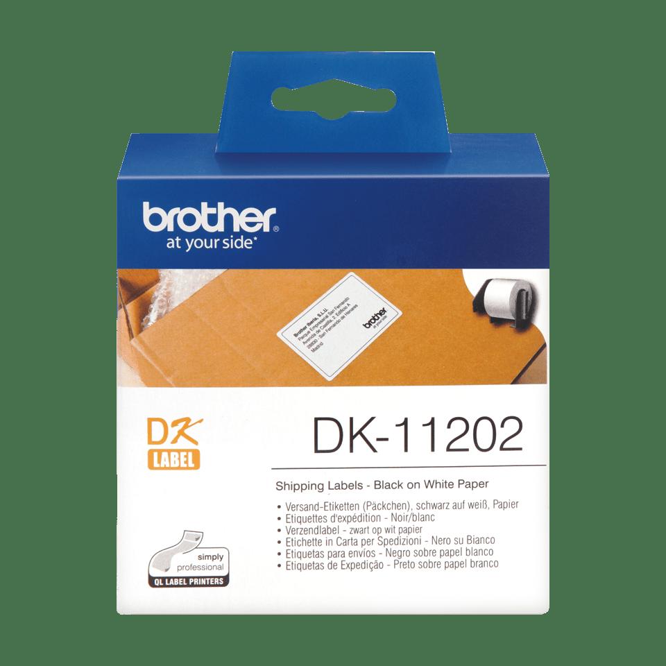 Brother original DK11202 forsendelsesetikett - sort på hvit, 62 mm x 100 mm