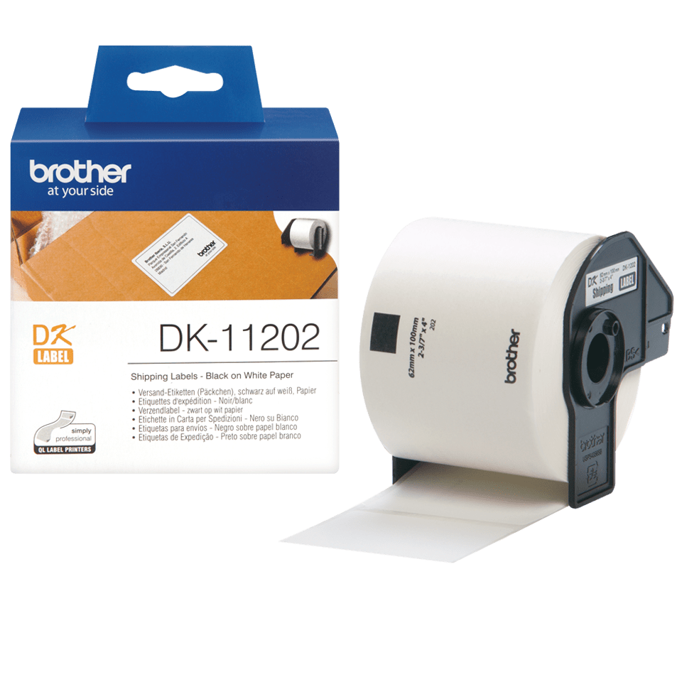 Brother original DK11202 forsendelsesetikett - sort på hvit, 62 mm x 100 mm 3