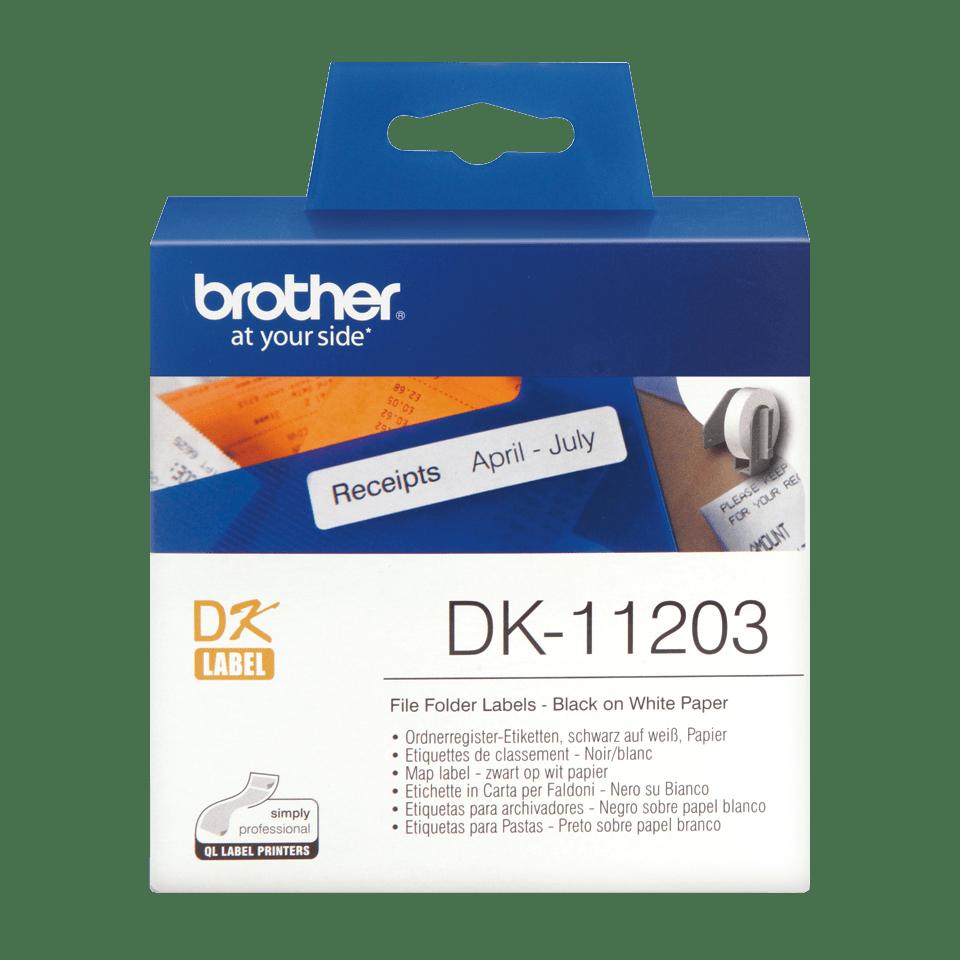 Original Brother DK11203 etikett for arkivmapper – sort på hvit, 17 mm x 87 mm