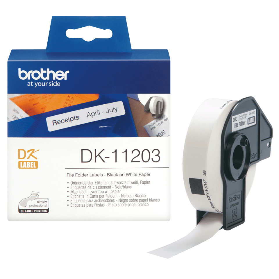 Original Brother DK11203 etikett for arkivmapper – sort på hvit, 17 mm x 87 mm 3
