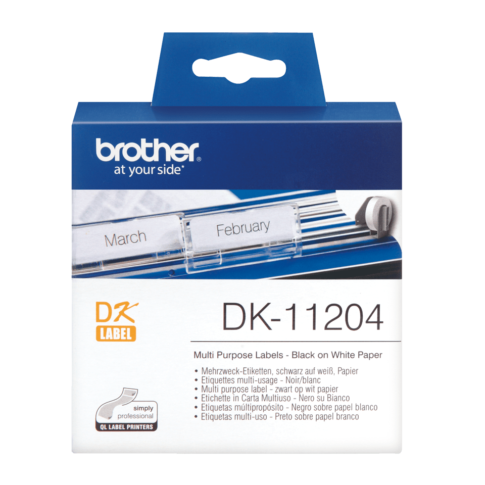 Original Brother DK11204 universaletikett – sort på hvit, 17 mm x 54 mm