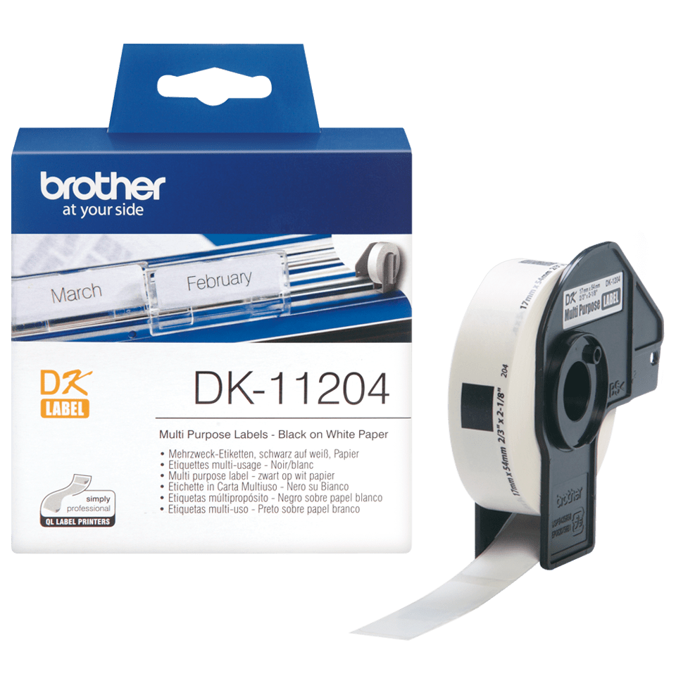 Original Brother DK11204 universaletikett – sort på hvit, 17 mm x 54 mm 3