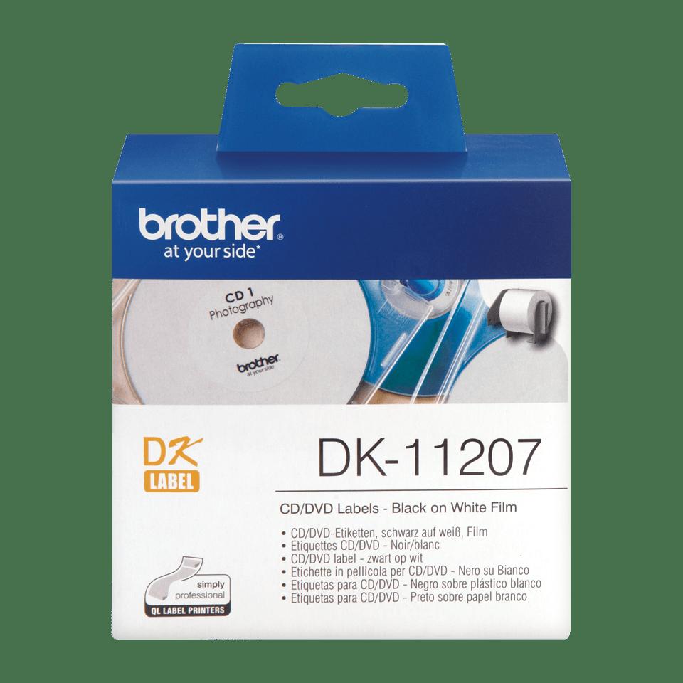 Brother original DK11207 CD og DVD etiketter i plastfilm i fast format - sort på hvit, 58 mm i diameter