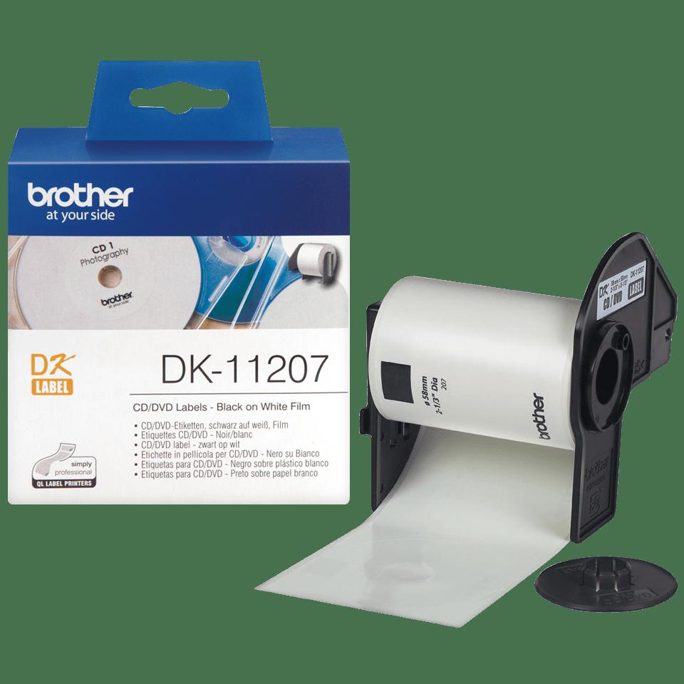 Brother original DK11207 CD og DVD etiketter i plastfilm i fast format - sort på hvit, 58 mm i diameter 3