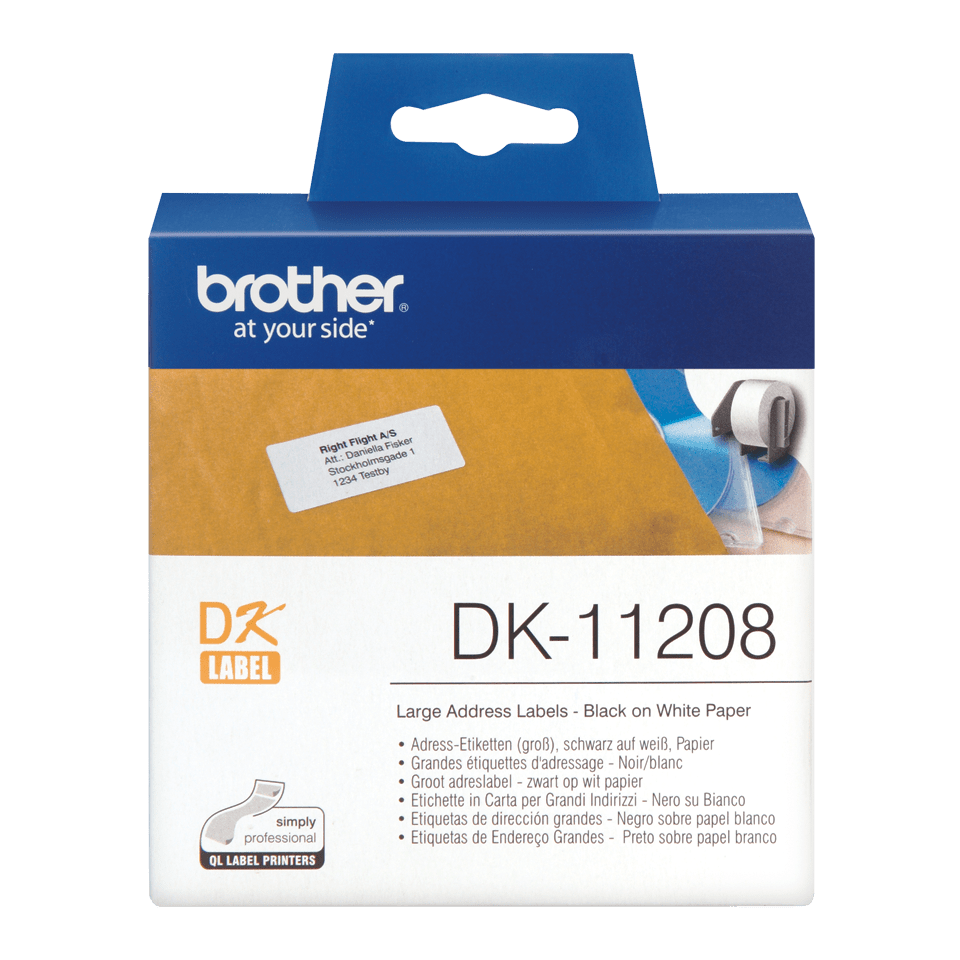 Original Brother DK11208 stor adresseetikett – sort på hvit, 38 mm x 90 mm