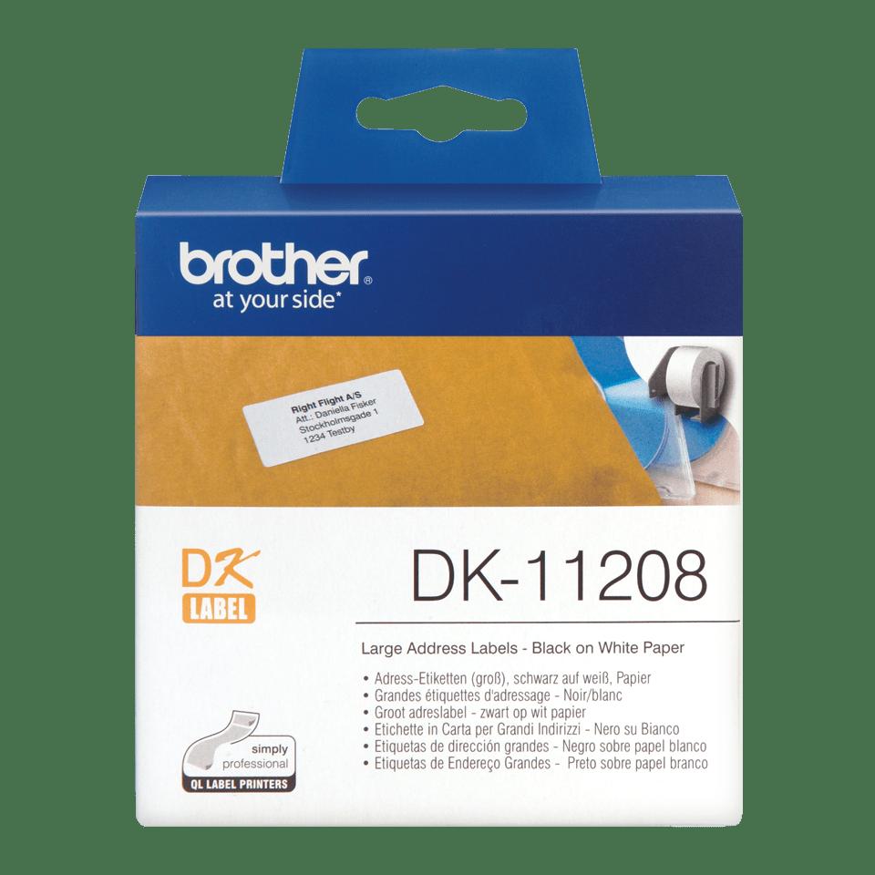 Original Brother DK11208 stor adresseetikett – sort på hvit, 38 mm x 90 mm