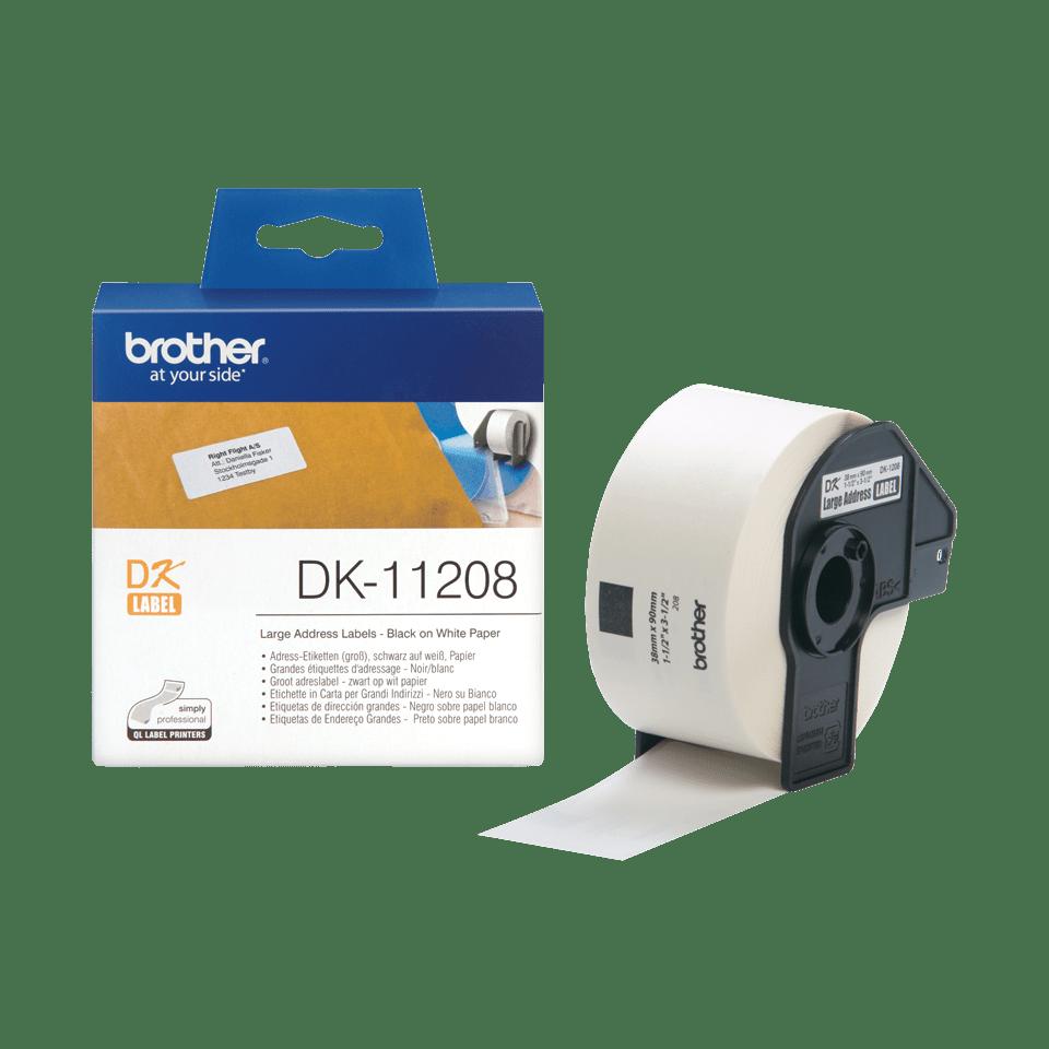 Original Brother DK11208 stor adresseetikett – sort på hvit, 38 mm x 90 mm 3